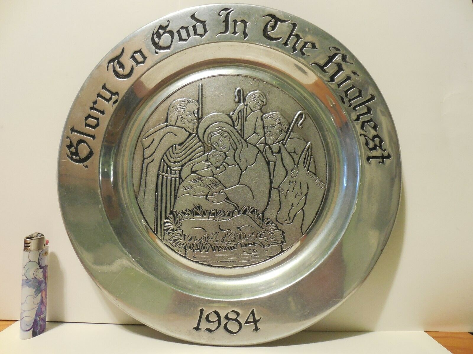 Wilton Christmas Pewter Plate Metallic 1984 Glory To God In The Highest  - $13.99