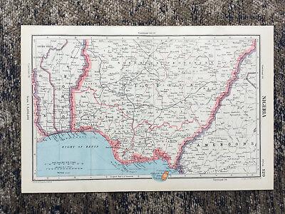 1951 Antique Map Of Nigeria J G Bartholomew