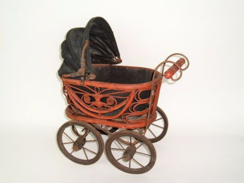 """Vtg Wicker Rattan Baby Doll Pram Carriage Buggy Antique Reproduction 16 """""""