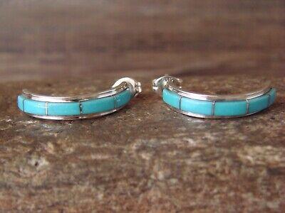 Zuni Indian Sterling Silver Turquoise Half Hoop Inlay Earrings by Waseta