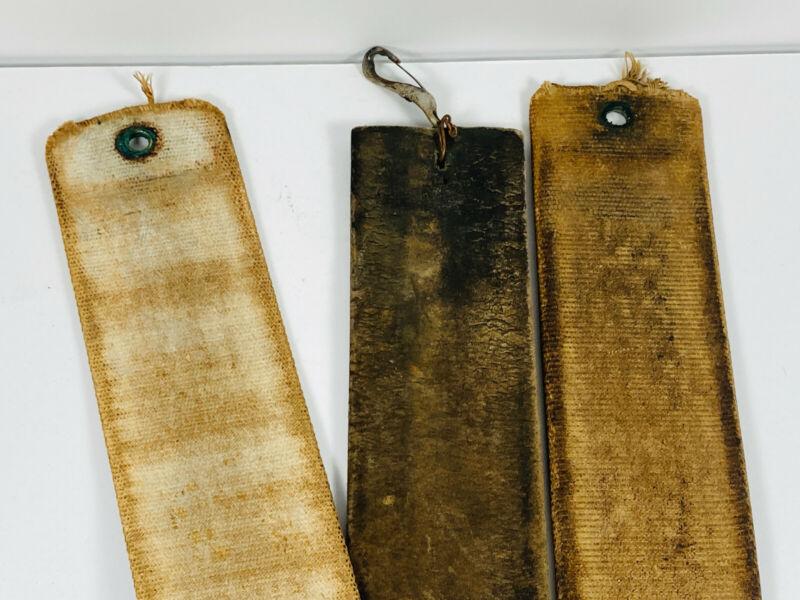 Vintage Lot (3) Leather Cotton parts Pieces Razor Strop barber barbershop