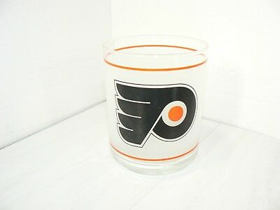 PHILADELPHIA FLYERS NHL VINTAGE 1990'S MOBIL GAS FROSTED LOW BALL GLASS NICE