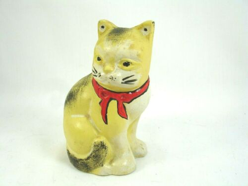 Vintage Metal Cat or Kitty Bank, 4.5 Inches Tall, Painted, Tabby