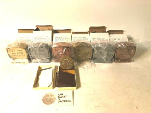 Set Of 6 John Deere Employee Credit Union Banks 1-6 & Bronze Medallion Originals
