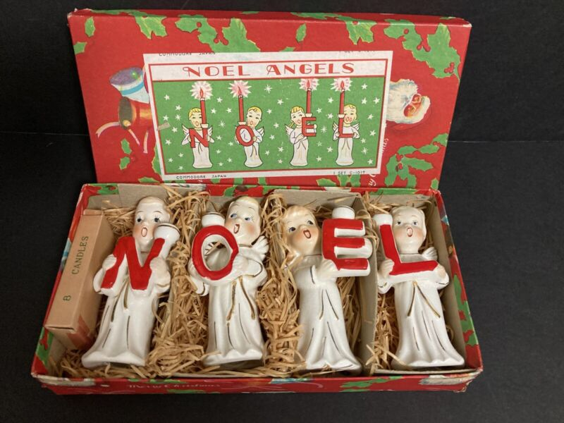 4-  1950s COMMODORE NOEL CHRISTMAS SINGING ANGELS CANDLEHOLDERS w BOX- JAPAN