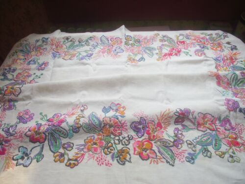 VTG STAMPED LINEN HAND EMBROIDERED ECRU TABLECLOTH  MULTI COLORED FLOWERS