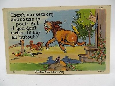 Vintage Early 1900's Postcard - Greetings From Sidney, OH - Dog Chasing Chickens