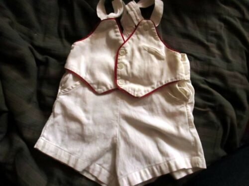 6/12m 1t BOYS Vtg 50s Cotton Playsuit Overall Romper Shorts white johnston usa