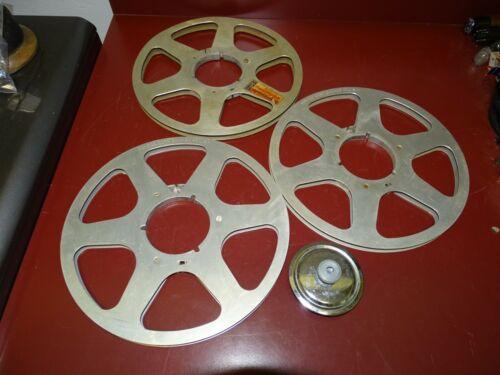 """3 Audiotape 10.5"""" Inch Metal Reel To Reel Empty 1/4"""" Reels w/ Hub"""