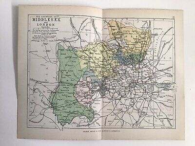 MIDDLESEX London c1886 Antique County Map Philip Railways Parliamentary Boroughs