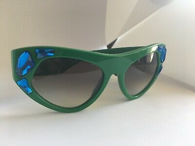 PRADA Voice SPR 21Q Oversized Crystal Embellished Sunglasses Green