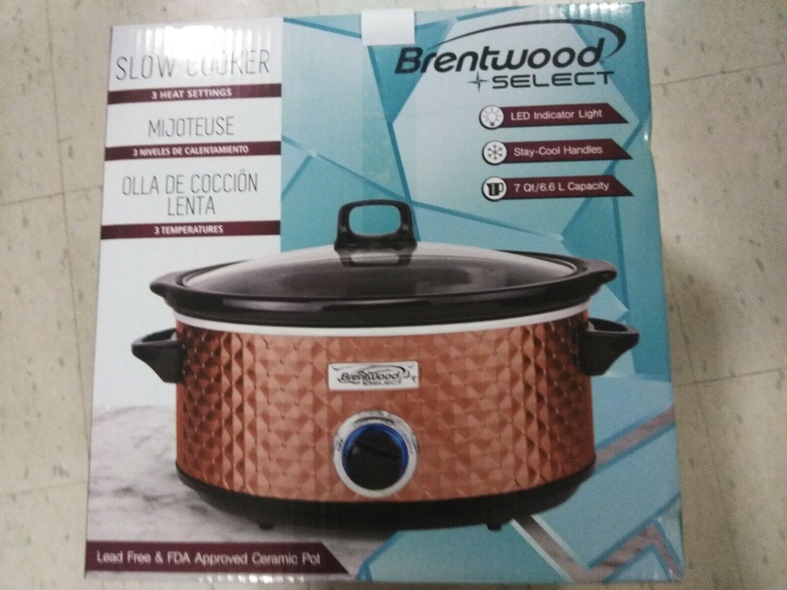 Slow Cooker 7-Quart Capacity Copper Color Brentwood Applianc