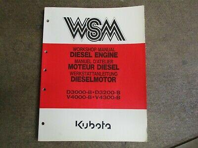 Kubota D3000 D3200 D4000 V4300 Diesel Engine Motor Repair Service Manual