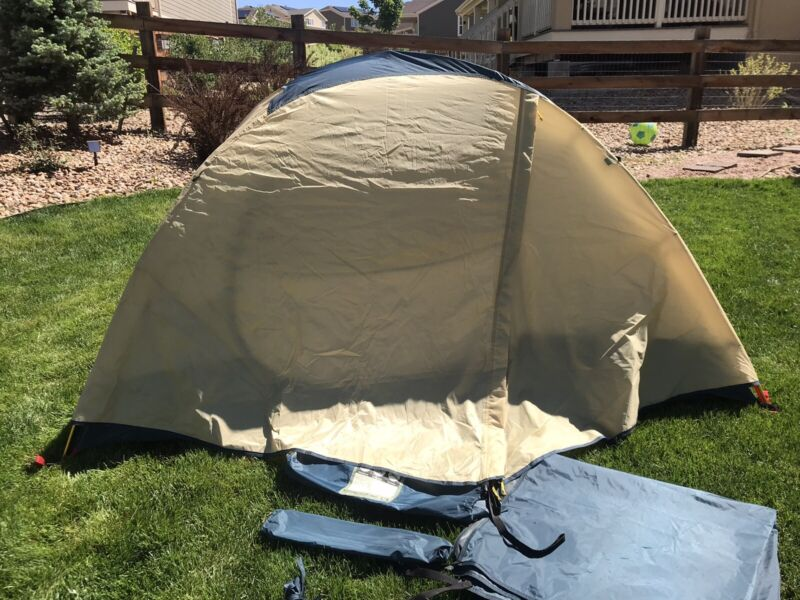 REI Half Dome Plus 2 Tent Camping Outdoor Hiking Blue Tan 6.5lbs - Complete EUC