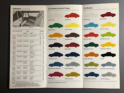 1973 Porsche 911 & 914 FACTORY issued Color Chart Folder / Brochure RARE Awesome