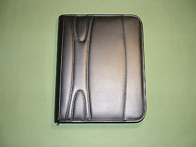 Simulated Leather 3-Ring Binder Portfolio Padfolio Zipper Organizer  Black - New