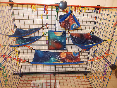 SOLAR SYSTEM With NAMES  Sugar Glider 6 pc cage set