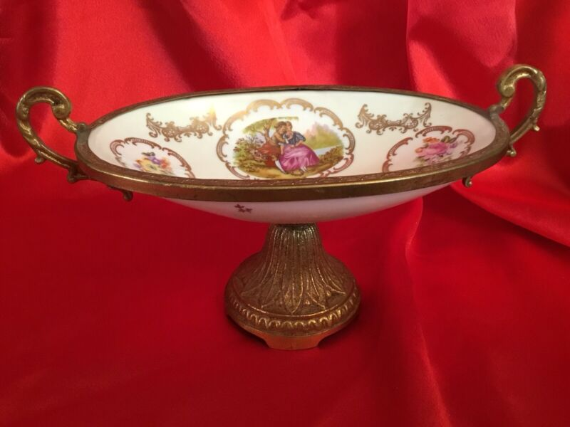 Antique French Bronze Gold Gilt Enameled Hand Painted Compote Center Piece Bowl