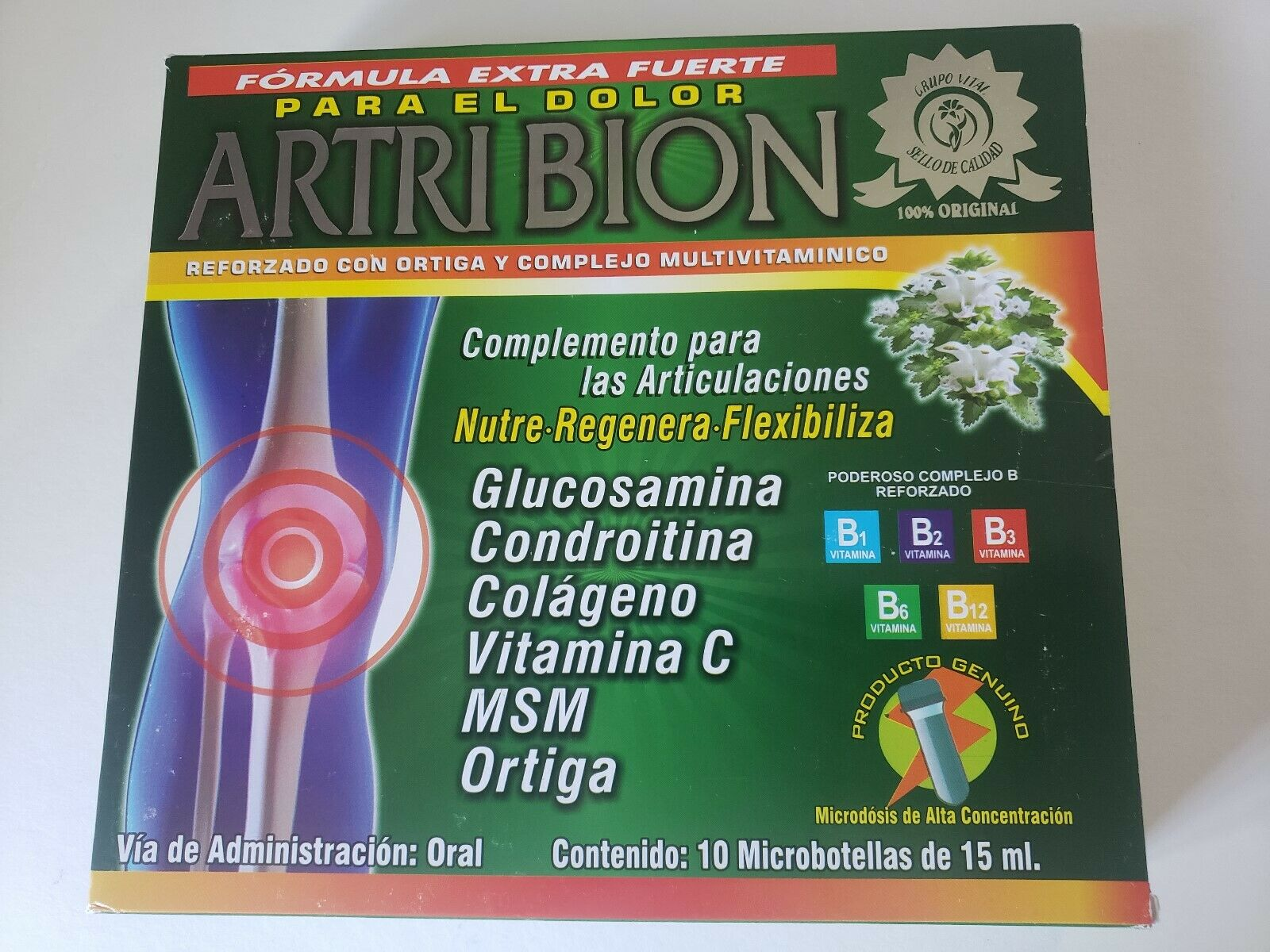 Artribion Ampolletas Suplement 10 Bottles 15ml ea Regenera y Flexibiliza /Ortiga