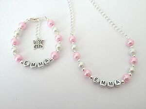 Girls personalised necklace + bracelet gift set - any name, colour and charm!