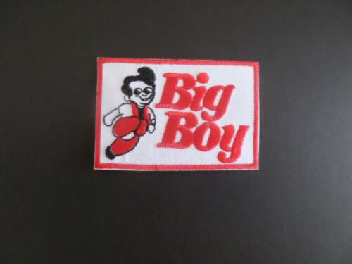 "BIG BOY RESTRAUNTS"" RED & WHITE EMBROIDERED IRON ON PATCHES 2 X 3"