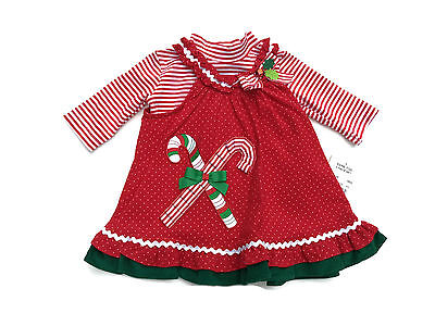 Rare Too Girls Red Christmas Candy Cane Jumper Dress Holiday Sizes 6M 9M - Candy Cane Dress