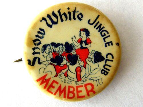 ANTIQUE 1938 SNOW WHITE JINGLE CLUB CELLULOID PINBACK WITH 7 DWARFS AS FOUND
