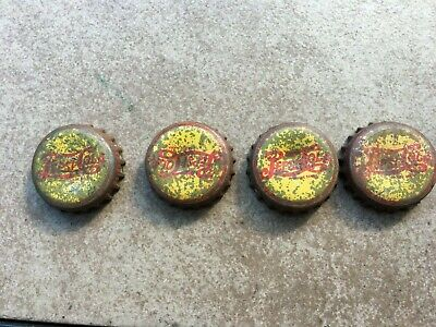 4 VINTAGE PEPSI BOTTLE CAPS, YELLOW WITH RED LETTERS, DOUBLE DOT
