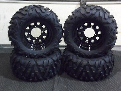 "KAWASAKI MULE 3010 23"" QUADKING ATV TIRE  ITP BLACK ATV WHEEL KIT  BIGGHORN"