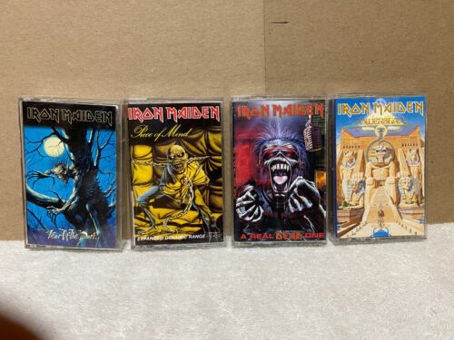 IRON MAIDEN (4) CASSETTE LOT  POWERSLAVE, PIECE OF MIND, FEAR OF THE DARK, DEAD