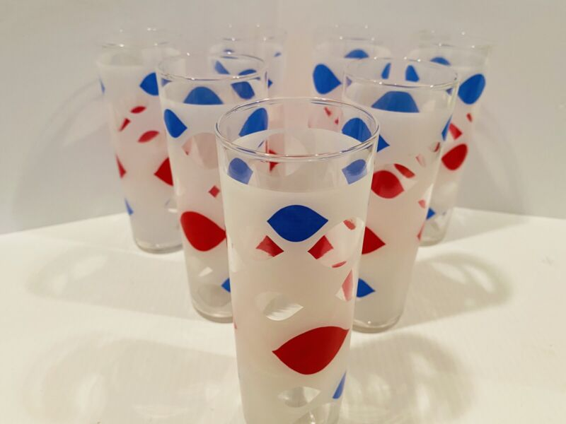 Vintage Frosted Tumblers Red White Blue Dairy Queen Set Of 7 1960's