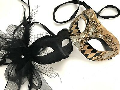Black theme Masquerade Harlequin mask Pair Feather Costume Prom Halloween Party - Prom Themed Halloween Costumes
