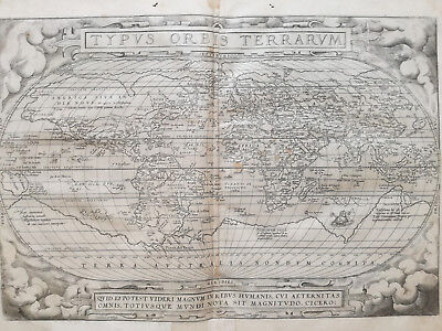 ORTELIUS Original Map of the World Typus Orbis Terrarum - 1573