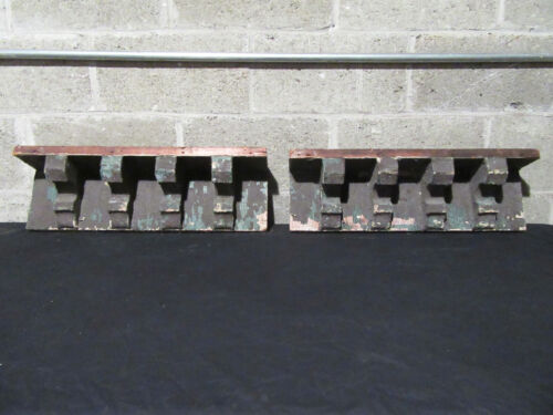 ~ 2 ANTIQUE WALL SHELVES WITH 8 CORBELS ~ 24 WIDE ~ ARCHITECTURAL SALVAGE
