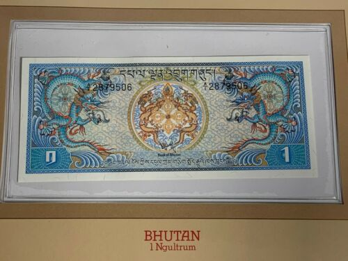 1 NGULTRUM BANKNOTE OF BHUTAN LEONE SERIAL NUMBER A/1 2879506 UNC CHOICE (MR)