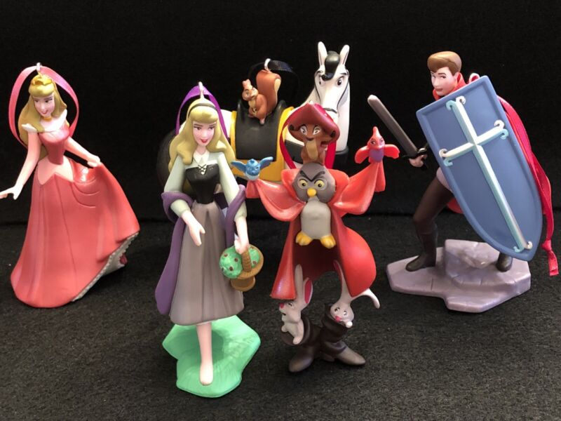 Sleeping Beauty Christmas Ornament Set Prince Phillip Horse Forest Friends Briar