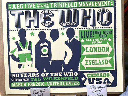 🔥 THE WHO Chicago IL 2016 Official AP Screen Print Poster Signed S/N #/300