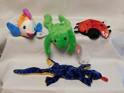 ty BEANIE BABY 4 Stück unbespielt LIZZY + LUCKY Marienkäfer + LEGS Frosch + LIPS