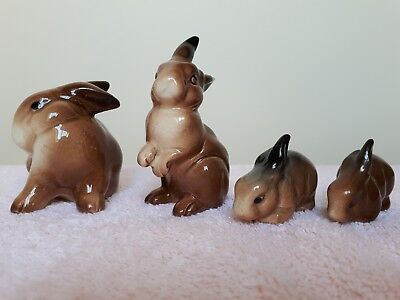 BESWICK RABBIT FAMILY OF 4 - EACH INDIVIDUALLY HAND PAINTED