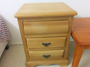 Wooden bedside table with 3 draws Peakhurst Hurstville Area Preview