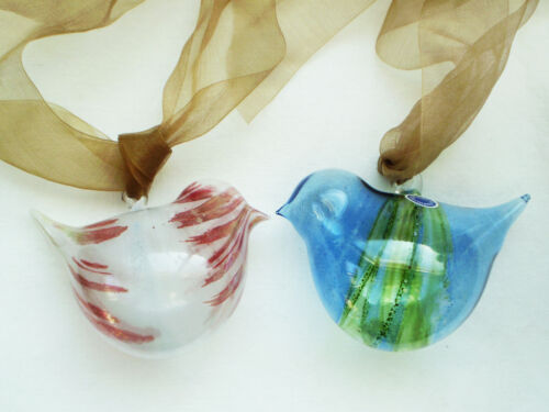 2 Modern Delicate Hand Blown GLASS BIRD Ornaments Made in GERMANY