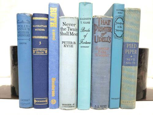 *6 Vintage BLUE Decor Books* Old Decorative Books for Home Office Wedding Venue