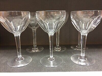 6 verres à eau en cristal. Modèle OSRAM cotes plates. H: 178 mm. VAL ST LAMBERT