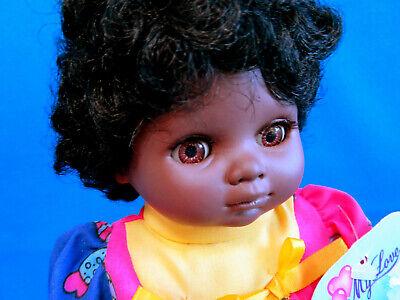"VINTAGE 90's 10"" BLACK AFRICAN soft CLOTH & VINYL DOLL toy GOOD NIGHT BABY SIMBA"