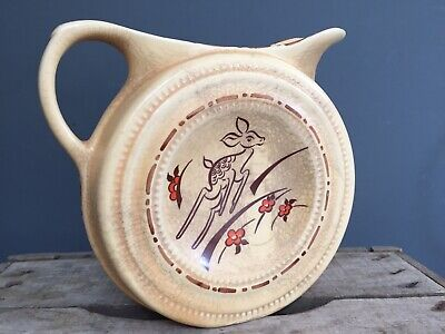 Art Deco Leaping Deer Fawn Bambi Ceramic Jug 1930s Decorative