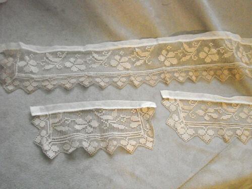 Vintage Filet Lace Collar & Cuffs EC Edwardian 20s NOS Antique Clovers