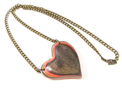 RECYCLED SKATEBOARD Chunky Love Heart Necklace Wooden Quirky Handmade Statement