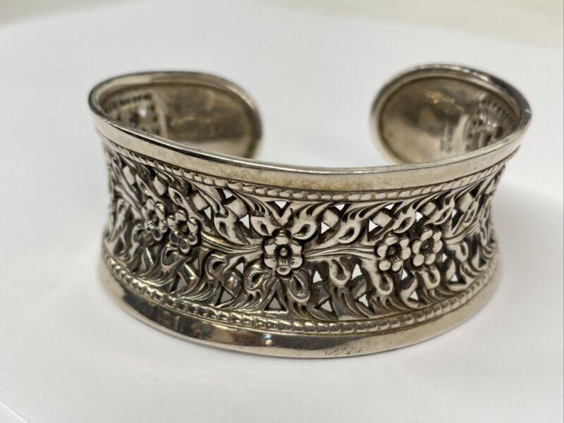 Vintage Thailand Sterling Silver Concave Intricate Floral Design Cuff Bracelet