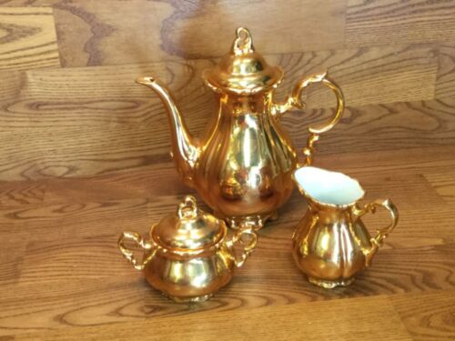 Antique Waldershof Bavaria Germany Handarbeit 3 pc. Gold Tea Set