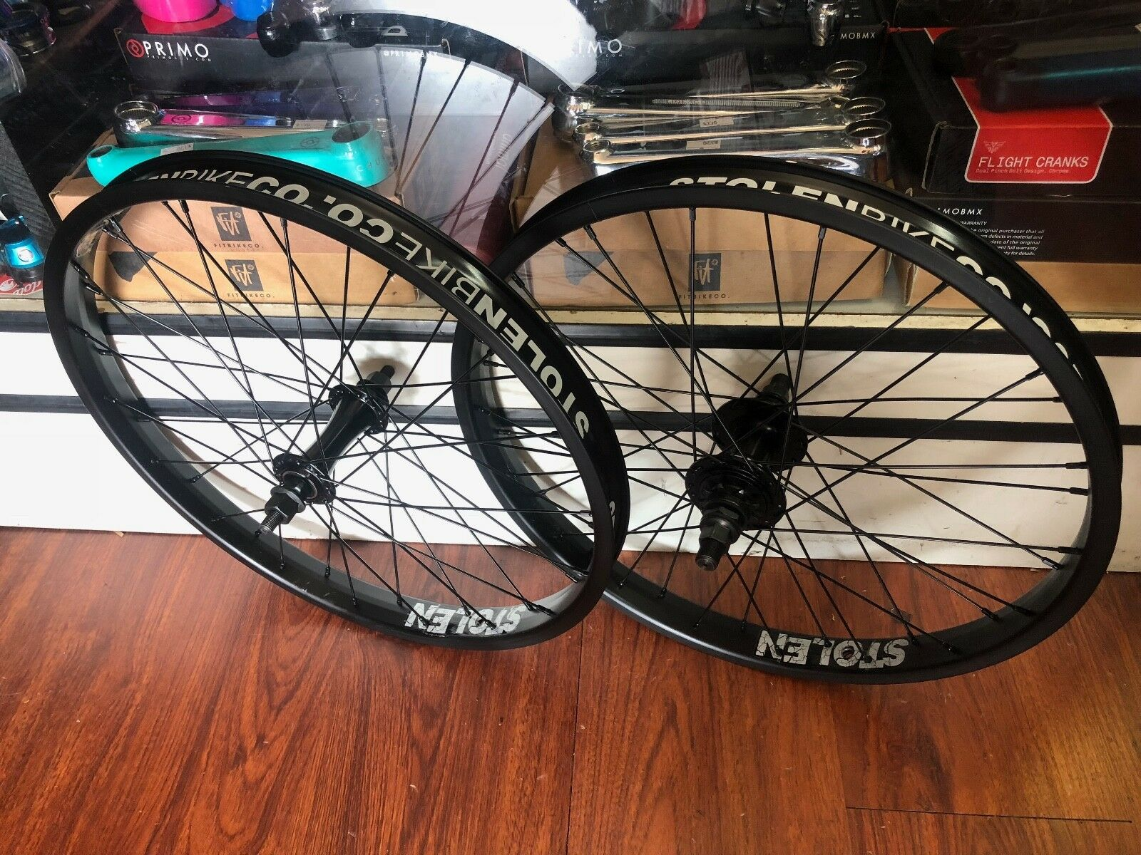 STOLEN BMX COMPLETE WHEEL SET REAR FRONT BLACK RHD WHEELS 20